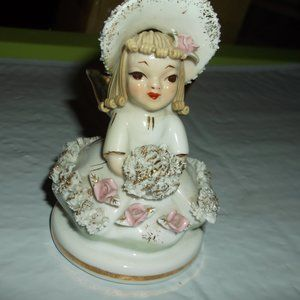 lefton little miss muffet figure glass  vintage